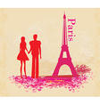 Romantic couple in paris - abstract card vector