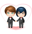 Gay grooms getting married vector