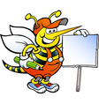 Hand-drawn of an happy working bee holding a sign vector