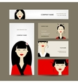 Business cards design with asian girls vector