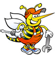 Hand-drawn of an happy working bee holding wrench vector