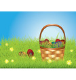 Easter basket on lawn vector