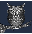 Gray owl with white ornament vector