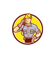 Telephone repairman phone circle cartoon vector