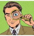 The man is a detective looking through magnifying vector