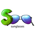 A letter s for sunglasses vector