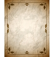 Aged crumpled brown frame with vintage ornament vector