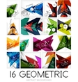 Set of triangle shaped abstract backgrounds vector