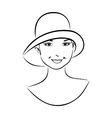Vintage girl face in hat - vector