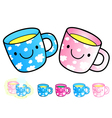 Different styles of baby cup sets vector