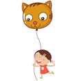 A young girl holding a cat balloon vector