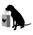 Dog shopping chicken vector