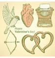 Sketch cute valentine set vector
