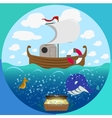 Sea theme circle set vector