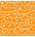 Orange party bunting seamless pattern background vector