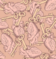 Cute keys and hearts seamless pattern vector