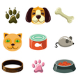 Cat and dog with toys vector