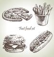 Fast food set hand drawn vector