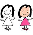 Cartoon cute happy little girl vector