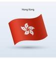 Hong kong flag waving form vector