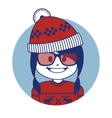 Christmas character santa claus girl in red hat vector