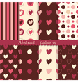 Set of abstract patterns with hearts vector