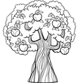 Apple tree cartoon for coloring book vector