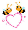 Cute flying bees with pink love heart vector