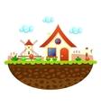Flat farm landscape with farmhouse vector