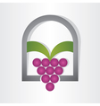 Grape on window design vector