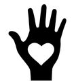Thick hand with heart icon vector