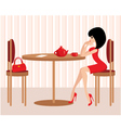 Young woman in cafe vector