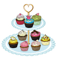A cupcake tray full of cupcakes vector