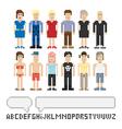 Set of pixel people vector