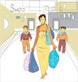 Family shopping vector