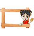 A wooden frame with a lady vector