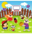 Animals play basketball vector
