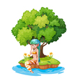 A mermaid in the island vector