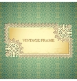 Vintage frame on seamless lace pattern vector