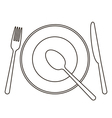 Place setting with plate knife spoon and fork vector