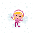 Little cute pink child making angel in snow vector