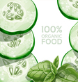 Background with green cucumber and basil vector