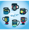 Beautiful big cups collection vector