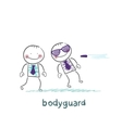 Bodyguard protects against bullets vector