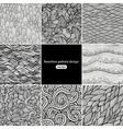 Set of eight black and white wave patterns vector