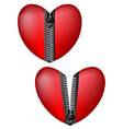 Hearts with zipper vector