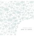Abstract gray bush leaves textile frame corner vector