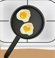 Fried eggs in black pan vector