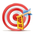 Red darts target aim and banner top 10 vector