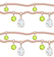 Golden chain with precious stones pendant vector